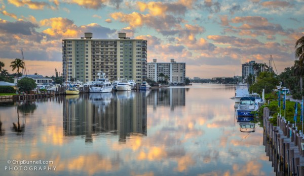 Cloud reflections on Delray Beach Intracoastal Waterway