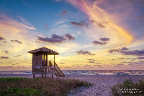 Sunrise Beach Lifeguard Stand by Chip Bunnell Photography