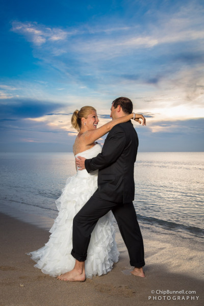 Beach Couple Pose by Chip Bunnell Photography