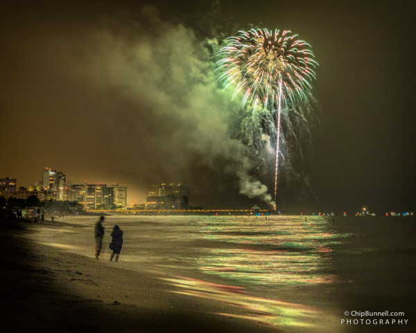 Beach Fireworks by Chip Bunnell Photography
