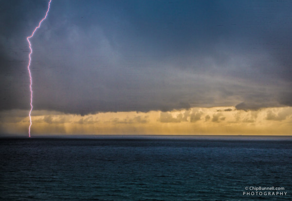 Sunrise Ocean Lightning by Chip Bunnell Photography