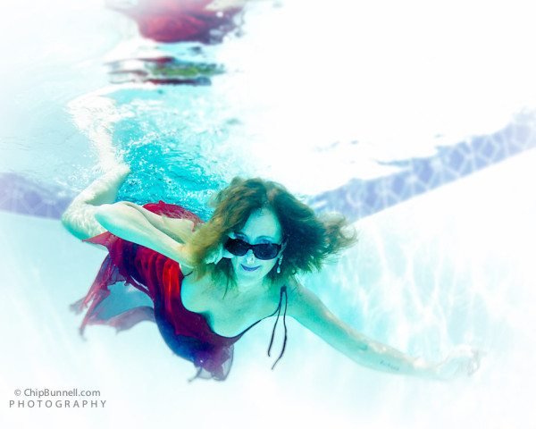Watery Fashion in Red by Chip Bunnell Photography
