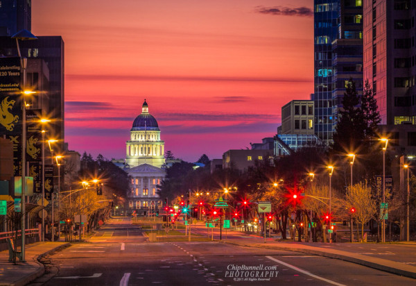 CA State Capital at sunrise by Chip Bunnell Photography